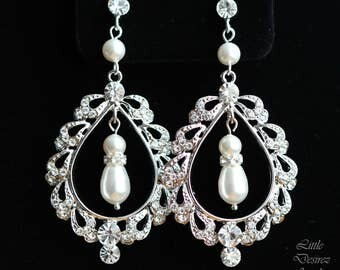 Vintage Style Bridal Earrings, Chandelier Bridal Earrings, Teardrop Hoop Earrings, Rhinestone Bridal Earrings, Wedding Earrings, EMILY