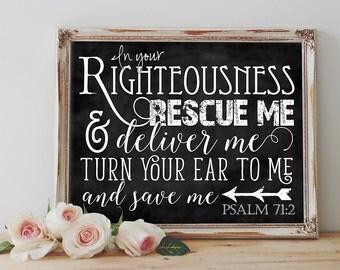 Scripture Art - Psalm 71:2 ~ Chalkboard Style