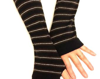 Stripe Fingerless Gloves Arm Warmers Brown Arm Warmers Fingerless Gloves.