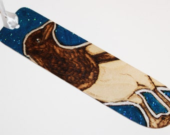 Magpie Pyrography Bookmark - Blue with Glitter finish - Woodburning
