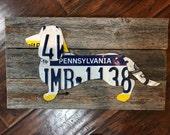 Handmade daschund dog pet license plate metal rustic decor wood sign wall art pallet