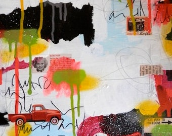This Way to Freedom- original art painting collage canvas fine art artwork mixed media