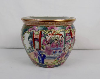 Chinese Porcelain Vase Planter Jardiniere Famille Rose Medallion Koi Fish Goldfish Gold Oriental Asian Decor Chinoiserie Vintage Mid Century