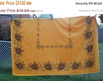 SALE Vintage table cloth Thanksgiving pumpkin orange , stencil roses and ribbons , 78'' x 58'' Country, french table setting