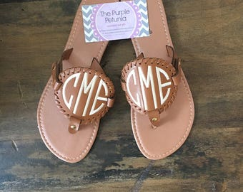 Monogram Disk Sandals / Personalized Womens shoes / Medallion Sandals Brown