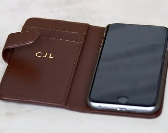 Luxury Leather iPhone Case Personalised in Gold