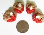 Custom Order - 4 Cherry Pie Charms, Mini Food charms, polymer clay charms, pie charms, cherry pie, food jewelry, food charms, kawaii jewelry