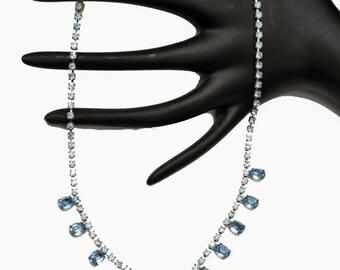Collar Necklace Light Blue Rhinestone mid century princess legnth bride wedding