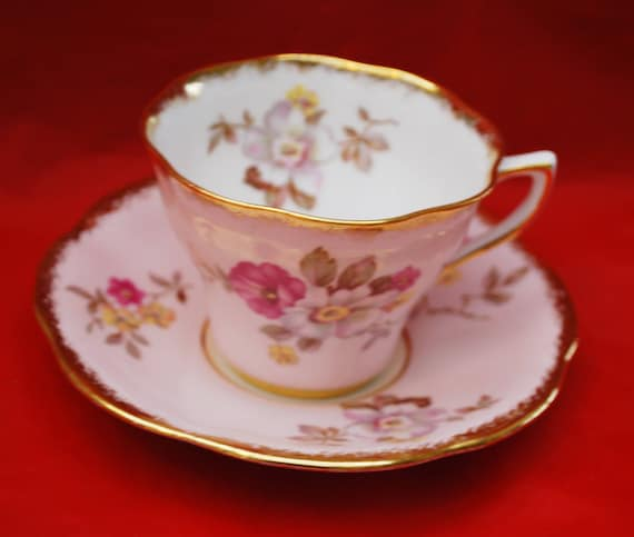 Clare Tea Cup and Saucer - Pink Floral - Fine Bone China England -