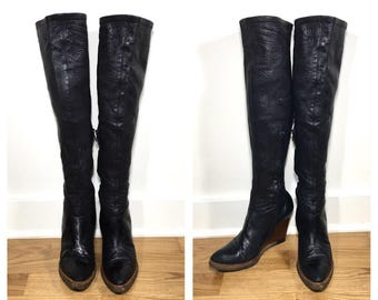 Size 8 Givenchy Knee High Boots Tall Black Leather Wedge Boots Stretch Leather Women's High Heeled Boots 1990s Givenchy Shoes