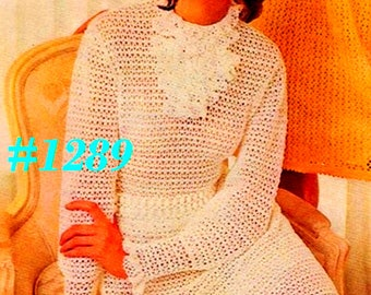 A BEST Vintage 1970s Mod Ruffled Mesh Dress #1289 PDF Digital Crochet Pattern