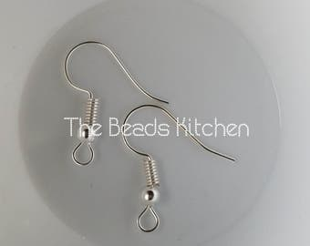 Silver Plated Shiny Fish Hook Hypoallergenic Ear Wires for Pierced Ears *Bulk Discount* 5 Pairs 10pcs 10 Pairs 20pcs  20 pairs 40pcs