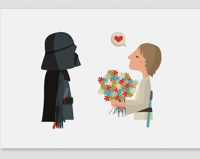 """Ilustración """"¡Felicidades, papá! (Luke)"""". Basada en """"La Guerra de las Galaxias""""."""