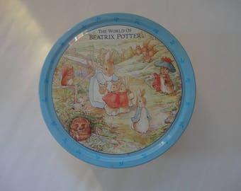 Vintage the World of Beatirx Potter Tin, Beatrix Potter Round Tin, Frederick Warne Company Tin, Peter Rabbit, Peter Rabbit and Friends Tin