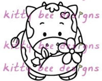 Flower Kal-Bee Cow Digital Stamp