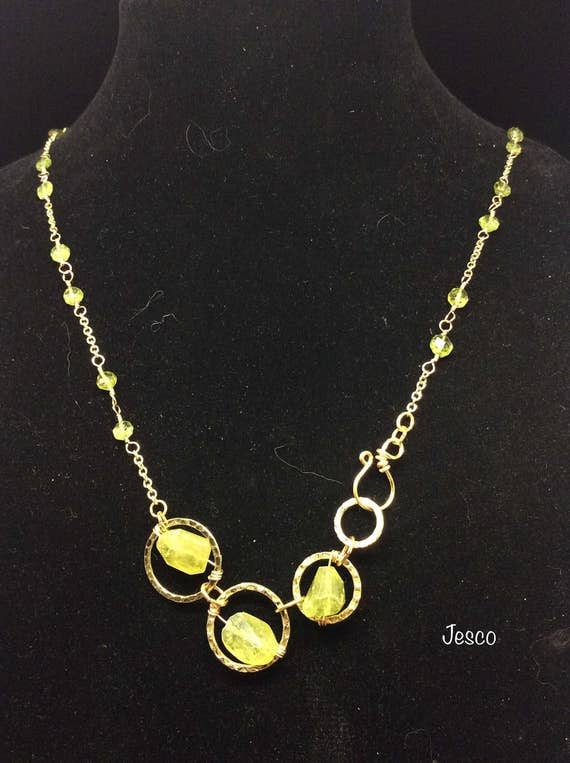 Peridot Stone on a Brass Necklace