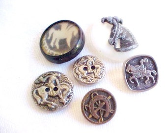 Vintage  Buttons - Horse Designs - Metal and Plastics - Equine Art Bit Supply for Sewing, Jewelry or Crafts - Bronco, Circus Pony, Knight