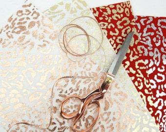 Printed Felt // Metallic Printed Wool Felt // LEOPARD Printed Felt // Printed Foil // Foil Fabric