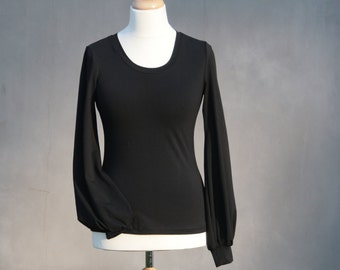Black woman's shirt, Long bishop sleeves, sheer sleeved shirt, casual shirt, eco friendly, Organic cotton