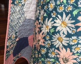 Spring Summer Baby Toddler Hexagon Quilt Blanket Girl Modern Patchwork Peach Pink Navy Blue White Floral Daisies