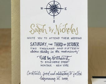 Nautical Wedding Invitation / Sea Shore Wedding Invitation / Boat Wedding Invite / Destination Invitations / Nautical Compass Invitation