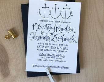 Simple Nautical Wedding Invitation / Navy Wedding Invitation / Seashore Wedding Invite / Anchor Invitation / Modern Wedding Invitation