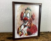 ON SALE 1979 Arthur Sarnoff Ringo The Clown Picture with Music Box & 3D Nose / Vintage Clown Picture / Clown with Red Nose