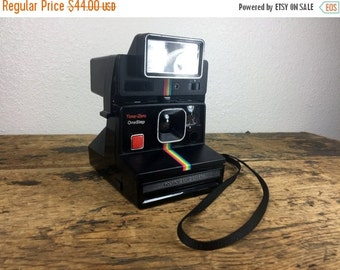 ON SALE Polaroid OneStep Instant Camera Black with Rainbow Stripe and Removable Q-Light