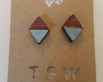 Geometric Triangles Wood  Laser cut and Laser Engraved Stud Earrings