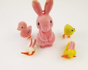 Vintage Easter Collection - Two Rabbits - Pink Duck - Yellow Chick - Easter Colors - Pink Blow Plastic Felted - Easter Baskets Decorations
