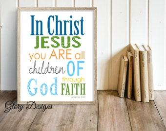 Printable, Bible Verse, Scripture Art, Printable, Children of God, Children's printable,  Galatians 3:26, Home Decor, Children's ministry