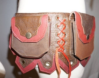30% Off SALE! Leather Utility Belt with Pockets in Red and Brown