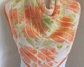 """VERA Neumann Orange White Silk Scarf 27"""" Inch Square"""