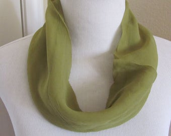 "Lovely Solid Green Soft Sheer Cowl Scarf 6"" x 15"" - Affordable Scarves!!!"