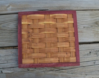 wood trivet cooling rack red elm and purple heart wood