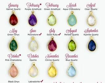 Add on Birthstone Teardrop Pendant to Any Necklace or Bracelet, birthstone charms, tear drop birthstones, gemstone charm, bezel station