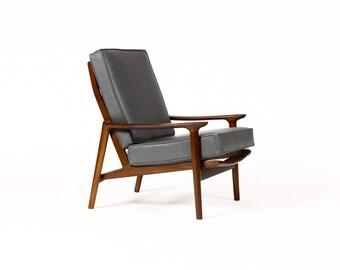 Danish Modern / Mid Century Mahogany High Back Lounge Chair — Grey Leather  — Guy Rogers