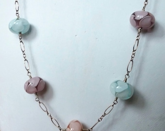 Pastel Glass Beads on Silver Chain