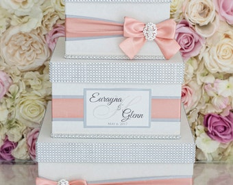 Wedding Card box / Card holder / Wedding money box - 3 tier - Personalized - ivory, coral, silver