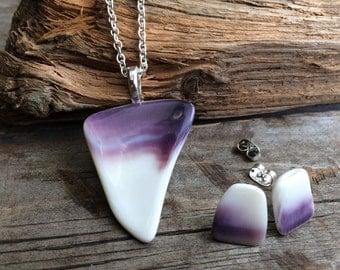 Wampum Necklace and Earring set, Native wampum Jewelry, Genuine Handpicked Natural Wampum Jewelry set , handmade Wampum jewelry set