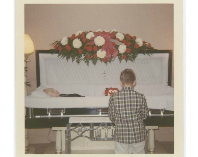1968 Kodacolor Print Vintage Snapshot Photo: Boy at Open Casket (73557)