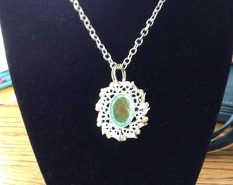 New jewelry line / Stunning Blue- green stone on silver  / Silver chain , for Graduation gift,Bridesmaids gift,.