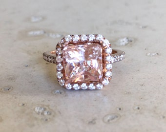 Morganite Cushion Engagement Ring- Rose Gold Morganite Engagement Ring- Halo Morganite with Diamond Promise Ring- Solitaire Morganite Ring