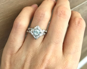 Round Aquamarine Bridal Set- Aquamarine Engagement Ring Set- Alternative Wedding Set Ring- Genuine Aquamarine Halo Engagement Set