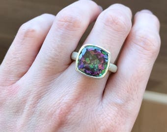 Mystic Topaz Statement Ring- Colorful Stone Ring- Unique Gemstone Ring- Bold Artisan Ring- Designer OOAK Ring- Simple Solitaire Ring