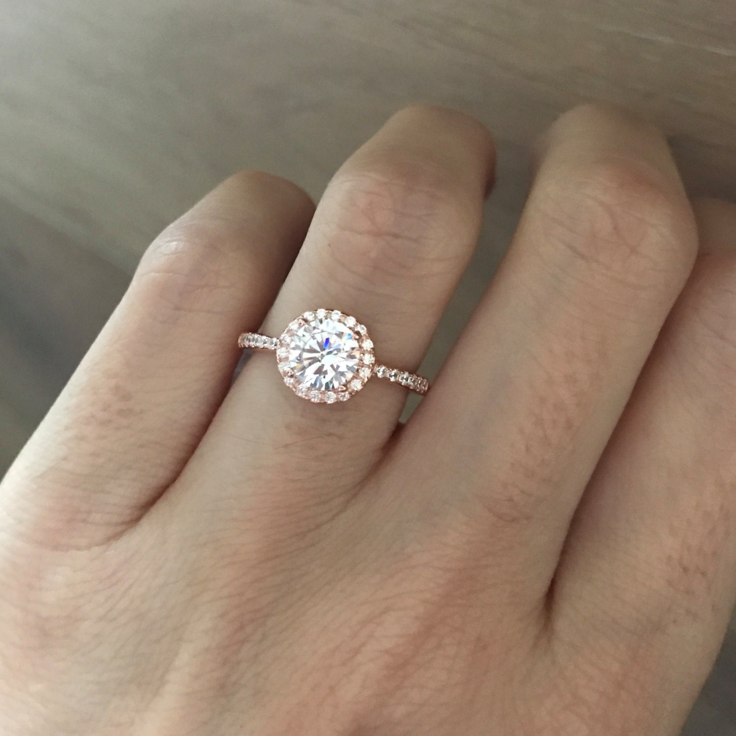 Rose Gold Ring Cubic Zirconia Engagement Ring Round By Belesas