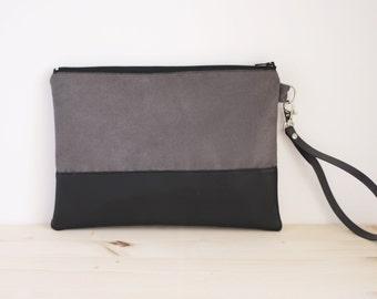 Faux suede purse, grey purse, grey handbag, grey little pouch, grey wrislet clutch, grey wedding handbag - Stone
