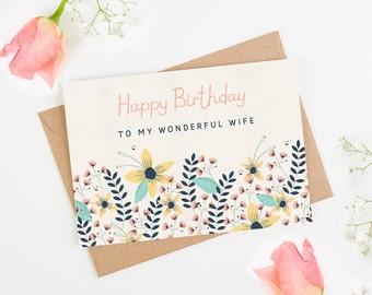 Wife Birthday Card Floral Bright
