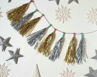 Mini gold/silver tassel garland