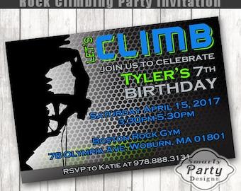 Rock Climbing Birthday Invitation Climb Birthday Boy Party Invite Printable Personalized 4 x 6 or 5 x 7